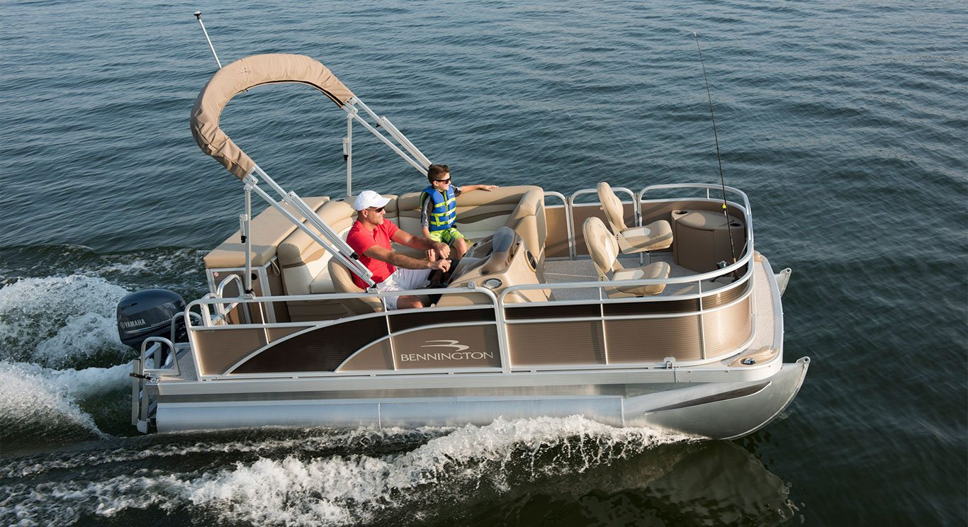 S16 8 39 wide fishing pontoon boats by bennington for Fishing pontoon boats