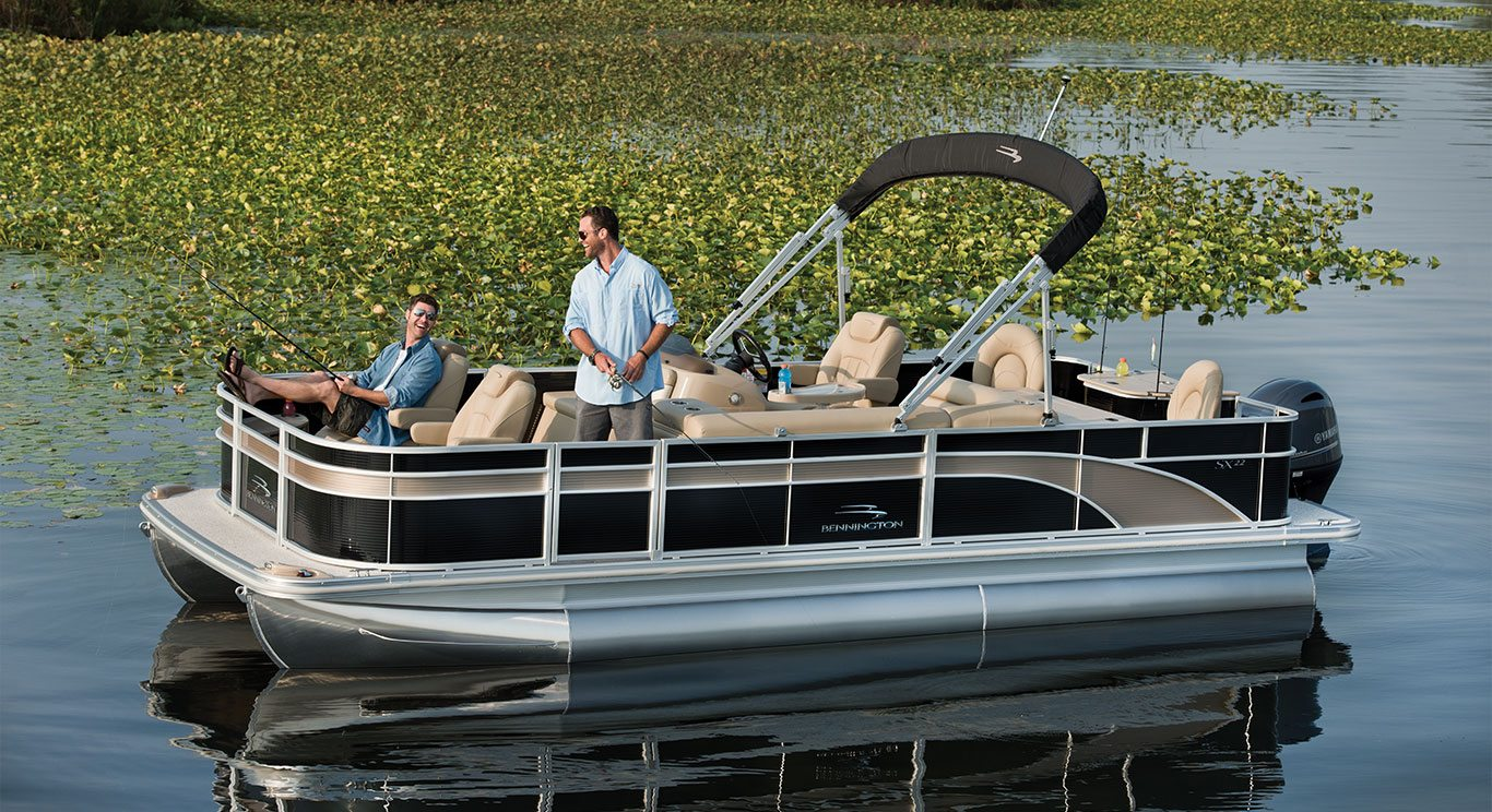 sx22 fishing pontoon boats by bennington