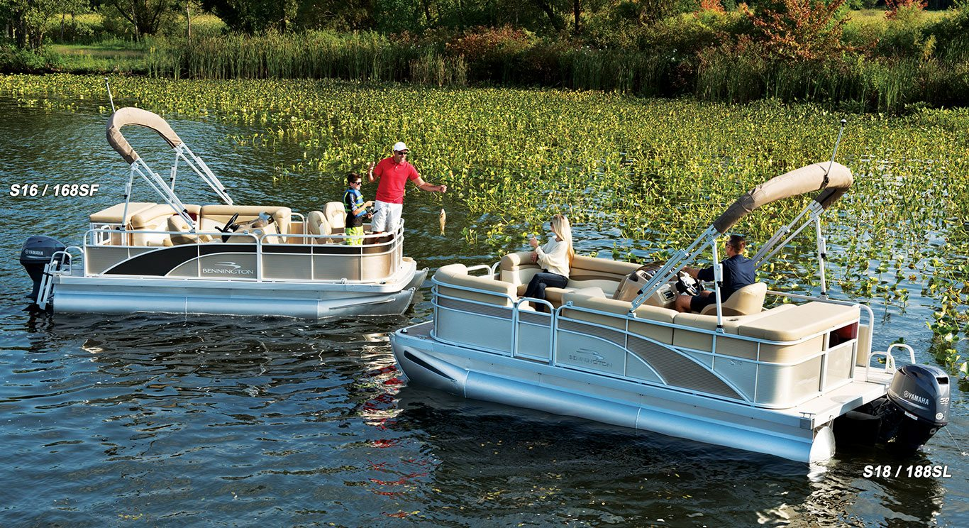 S16 8 39 wide fishing pontoon boats by bennington for Best fishing pontoon