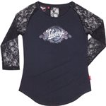 Womens 3/4 Sleeve Silver Print Tee -Black