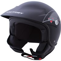 Shortie Open Face Helmet - Black