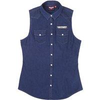 Women's Sleeveless Denim Shirt - Blue
