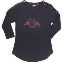 Women's Skull 3/4 Sleeve Tee- Black