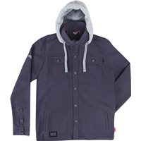 Mens Long Sleeve Hooded Overshirt -Gray