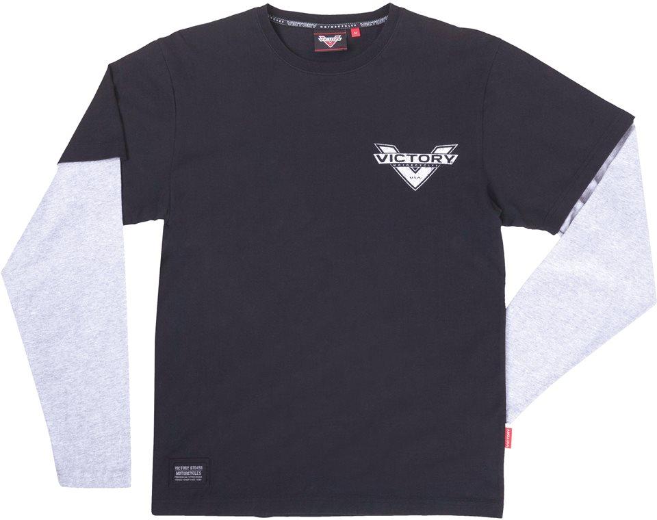Men's Long Sleeve Attitude 2 in 1 T-Shirt - Black/White 2863783