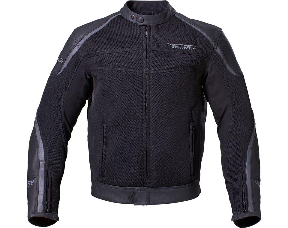 Mens Leather Mesh Hybrid Jacket - Black 2864330