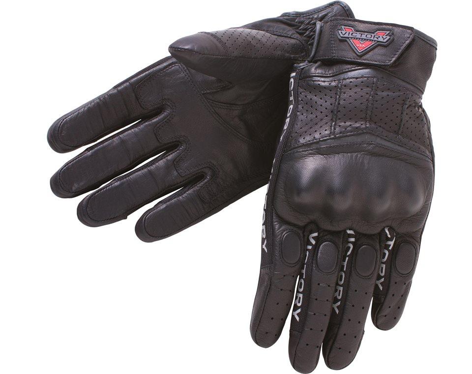 Men's Leather Graphic Gloves - Black 2864333