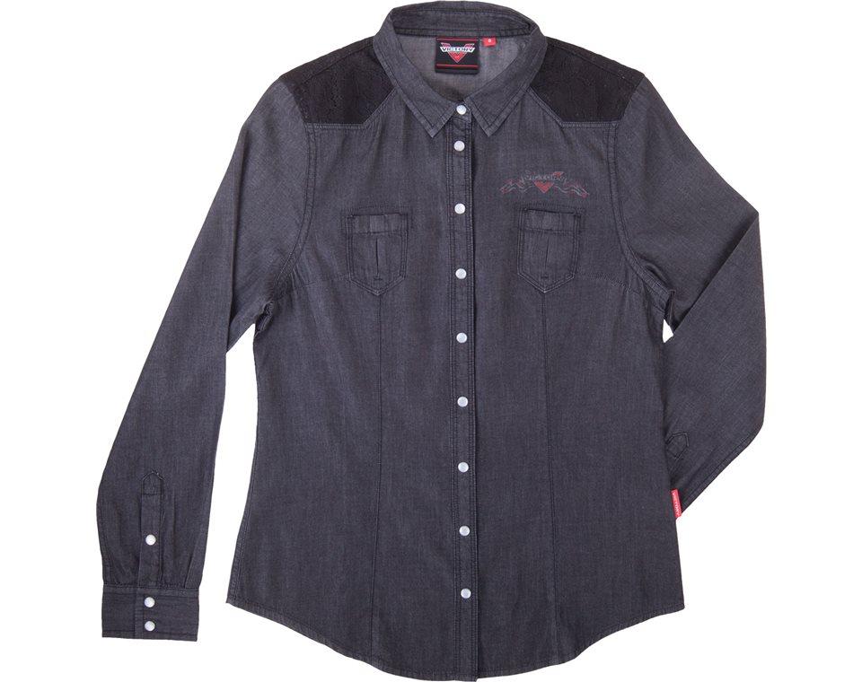 Women's Black Chambray Shirts- Black 2864397