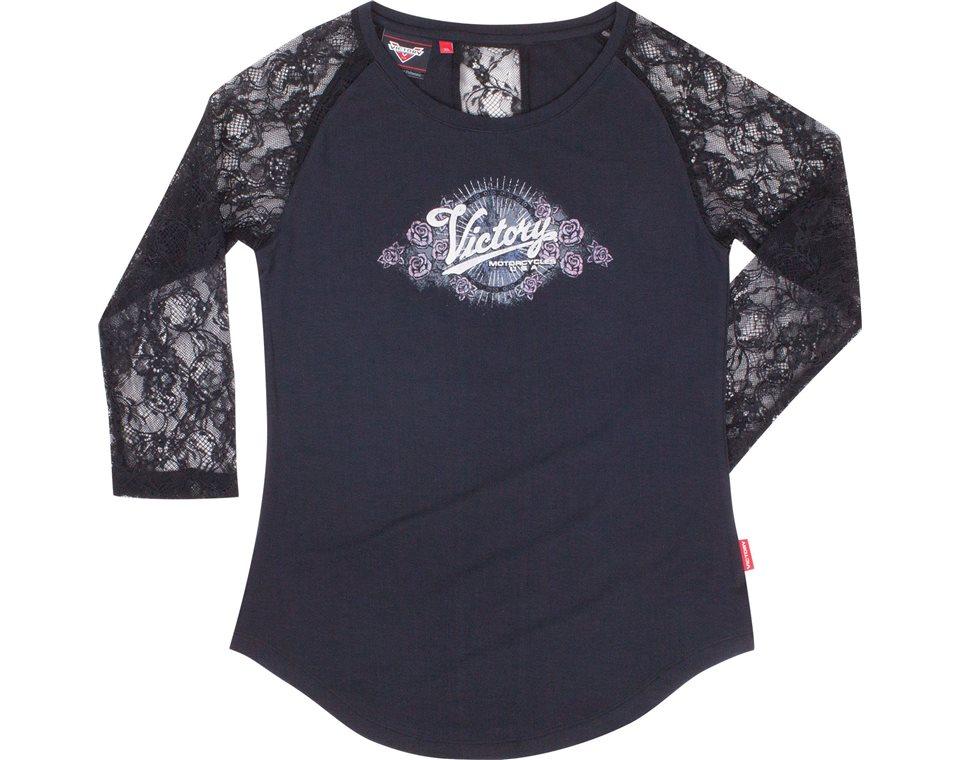 Womens 3/4 Sleeve Silver Print Tee -Black 2865188