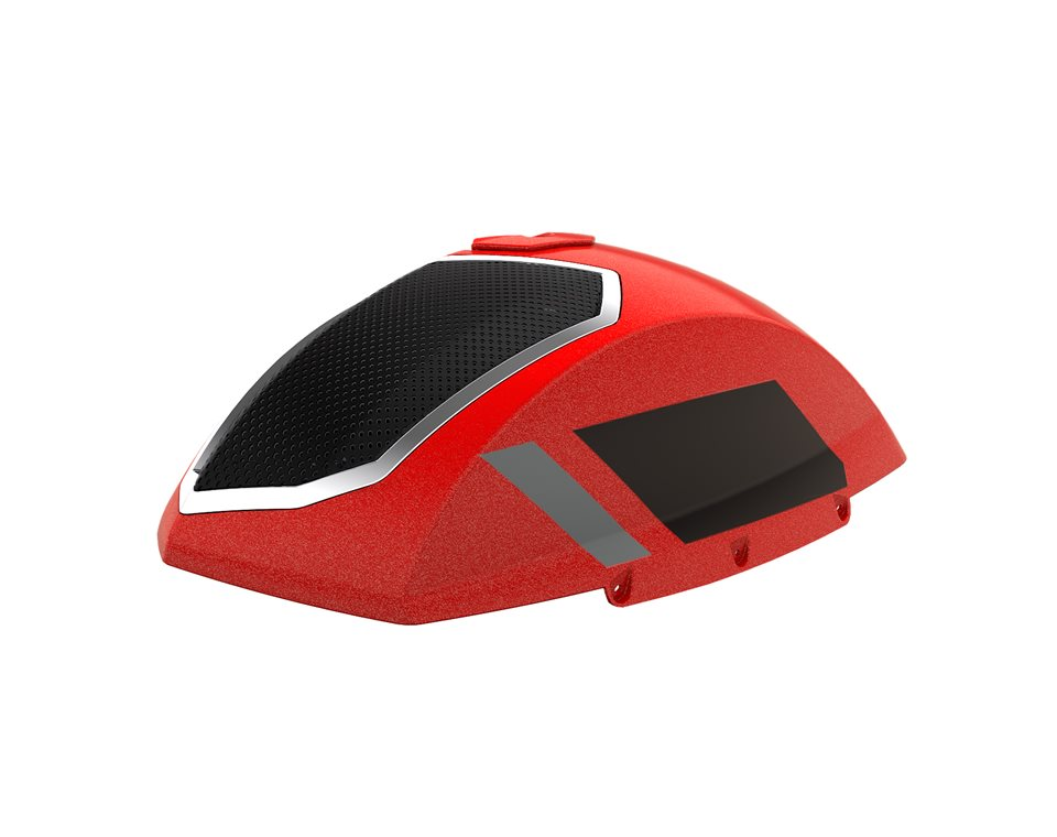Saddlebag Audio Lid Suede - Indy Red Pearl w/ Stripe 2880650-1567